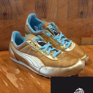 Puma Women Metallic Gold Softfoam Sneakers Sz 7.5